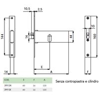 ELETTROSERRATURA SX mm133x44